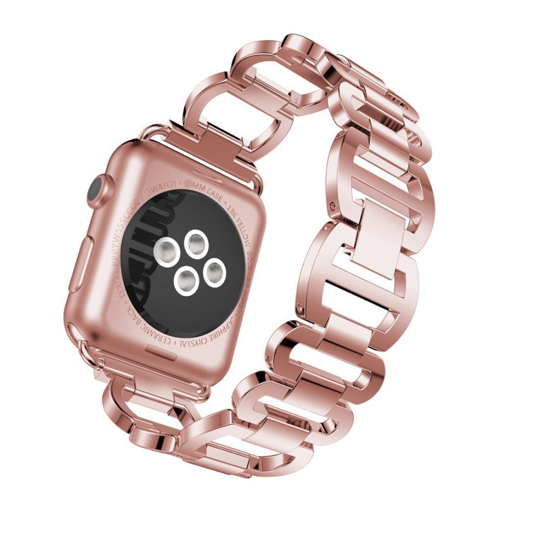 Apple Watchシリーズバンド、ダイヤモンドステンレススチールブレスレット時計バンドストラップfor Apple Watchシリーズ3 38 mm B075SV1KCP ピンク ピンク