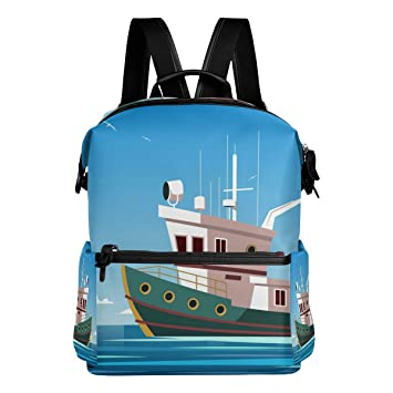 Amazon com   DJROW Trawler Power Boat In The Sea Backpack Casual