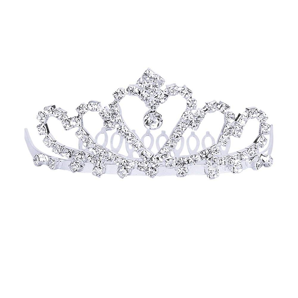 YaptheS Flower Rhinestone Bridal Tiara Crown w/Comb Pin for Wedding/Engagement/Prom Beautiful jewelry Adjustable