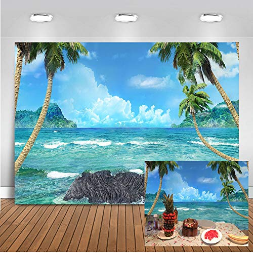 Mocsicka Tropical Beach Photo Backdrop 7x5ft Blue Sky White Cloud Palm Tree Beach Scene Backdrops Hawaiian Party Seaside Photography Background Photo Studio Props -