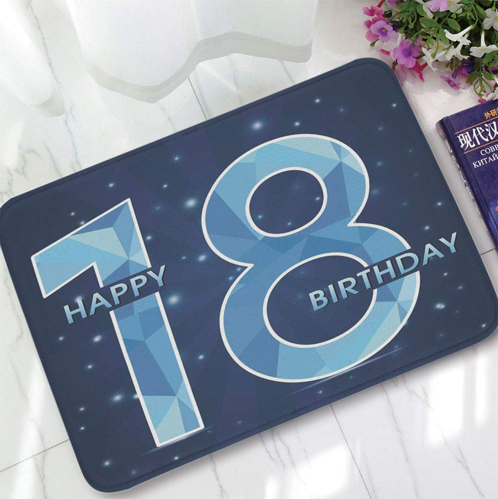 YOLIYANA Bath Mat,18th Birthday Decoration,for Dining Room Bathroom Office,15.75''x23.62'',18 Years Birthday with Galaxy Star