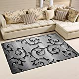 XiangHeFu Area Rugs Doormats Metal Rattan Silver 5'x3'3 (60x39 Inches) Non-Slip Floor Mat Soft Carpet for Living Dining Bedroom Home