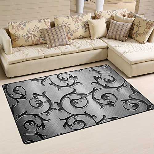 XiangHeFu Area Rugs Doormats Metal Rattan Silver 5'x3'3 (60x39 Inches) Non-Slip Floor Mat Soft Carpet for Living Dining Bedroom Home by XiangHeFu