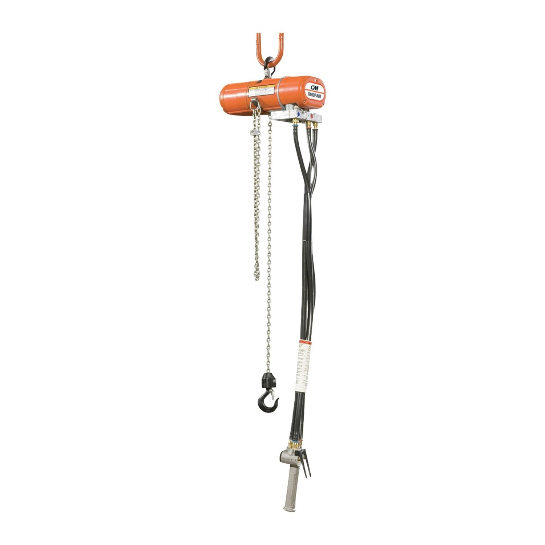 CM 2183 ShopAir Air Chain Hoist with Swivel Hook, 1000 lbs Capacity, 10' Lift Height, 11 fpm Lift Speed, 34 cfm, 90 psi