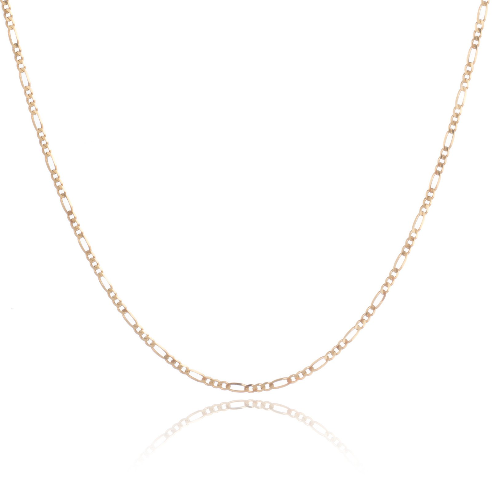 14 Inch 10k Yellow Gold Figaro Chain Necklace with Concave Look, 0.1 Inch (2.5mm)