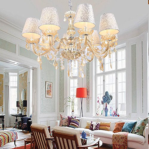 Modern Home Lighting 40W x 8 Crystal Ceiling Light Pendant Lamp Fixture Chandelier for Living Room & Bedroom(included bulbs)