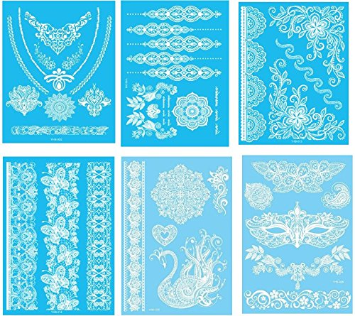 6-Sheet White Henna Tattoos Lace Mandala Body Paint Temporary Tattoo Sticker G/2W
