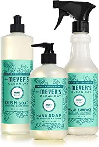 Mrs Meyers Mint Kitchen Basics Bundle: 3 items - (1) Dish Soap, (1) Hand Soap, (1) Everyday Cleaner