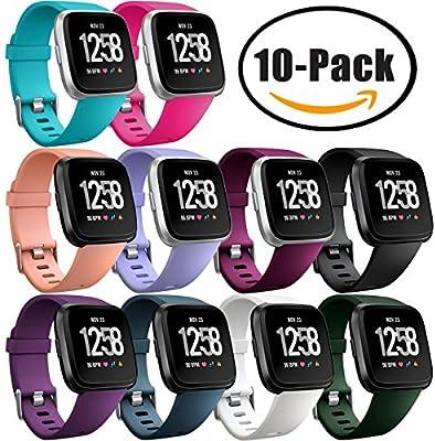 Fitbit Versa - Correas deportivas para Fitbit Versa, reloj inteligente Fitness, resistente al agua, silicona, correas para hombres y mujeres, tamaño grande, ...