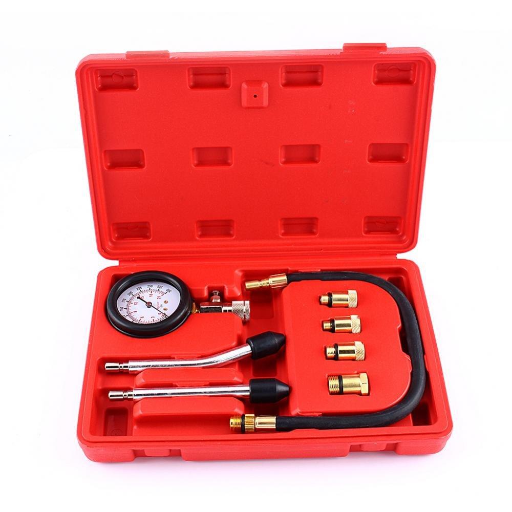 GOTOTOP Tester di Compressione del Motore a Benzina Auto, Dispositivo Test Cilindro Motore a Benzina, Manometro Compatibile per Tutti i Tipi di Automobili