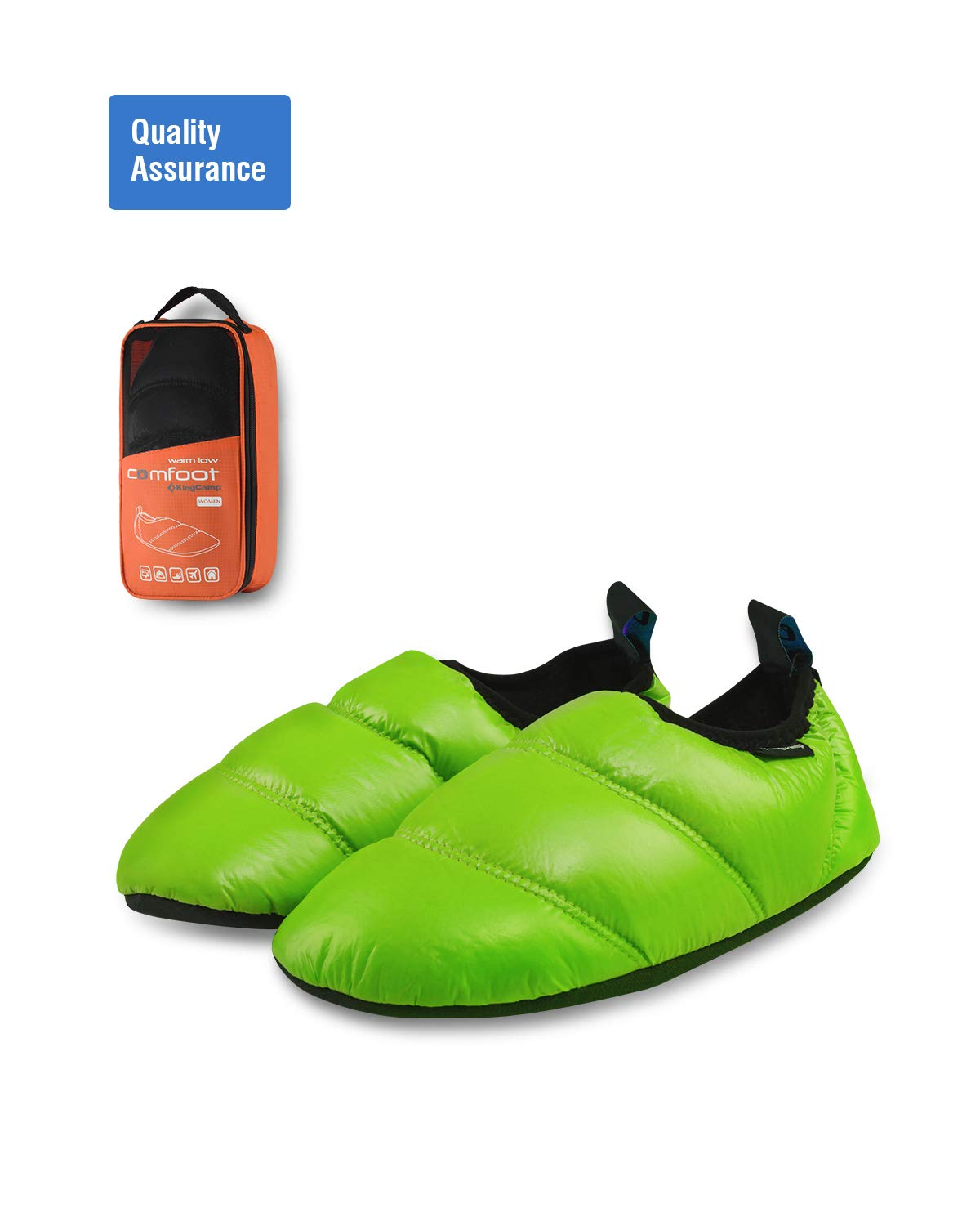 KingCamp Unisex Warm Soft Slippers With Slip Resistant Rubber Sole and Carry Bag (Check The Size Chart In The Description For Correct Size) (5-6, Green)