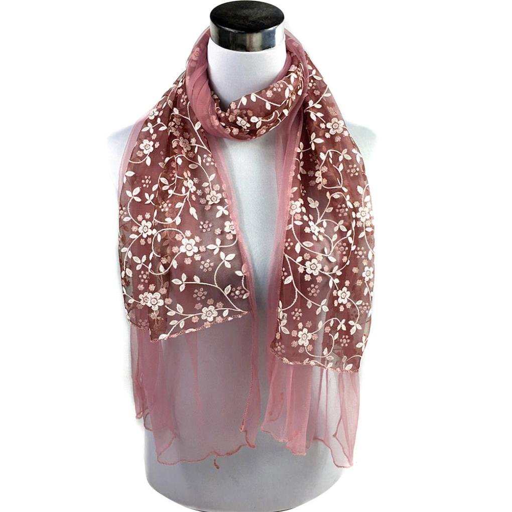 LUQUAN Women Embroidered Scarf Lace Sheer Burnout Floral Scarves Mantilla Shawl