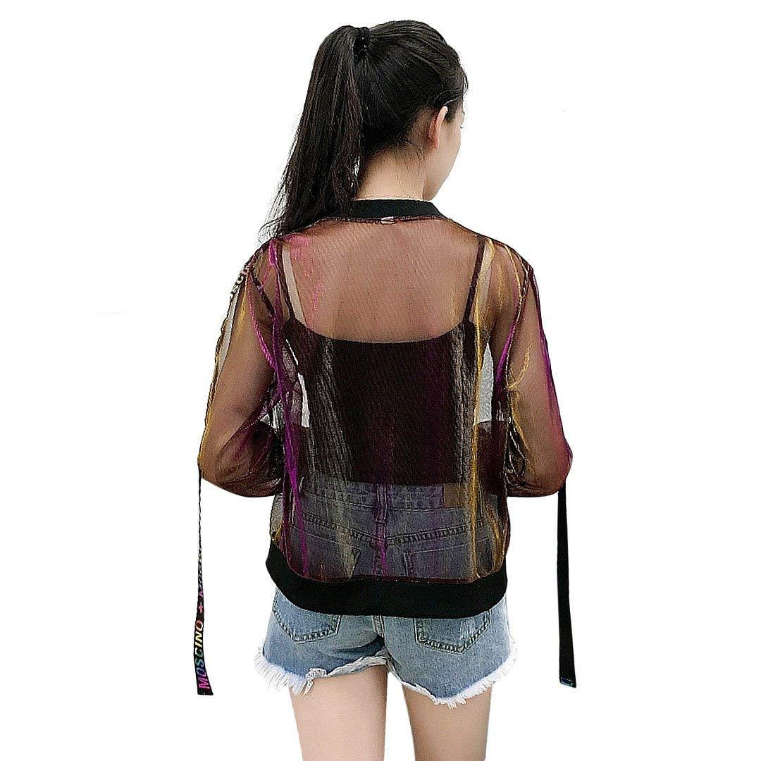 Weimilon Cazadoras Perspectiva Mujer Verano Joven Chic Abrigos Chaqueta  Respirable Bonita Outerwear Jacket con Cremallera Manga Larga  Amazon.es  Ropa  y ... 02703d5dbe14