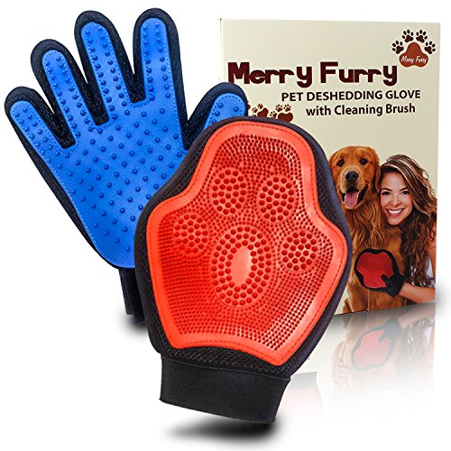 Pet Grooming Deshedding Glove Tool - Hair / Fur Remover Mitt Best for Dog, Cats Furnitures Clothes with Cleaning Brush by MerryFurry