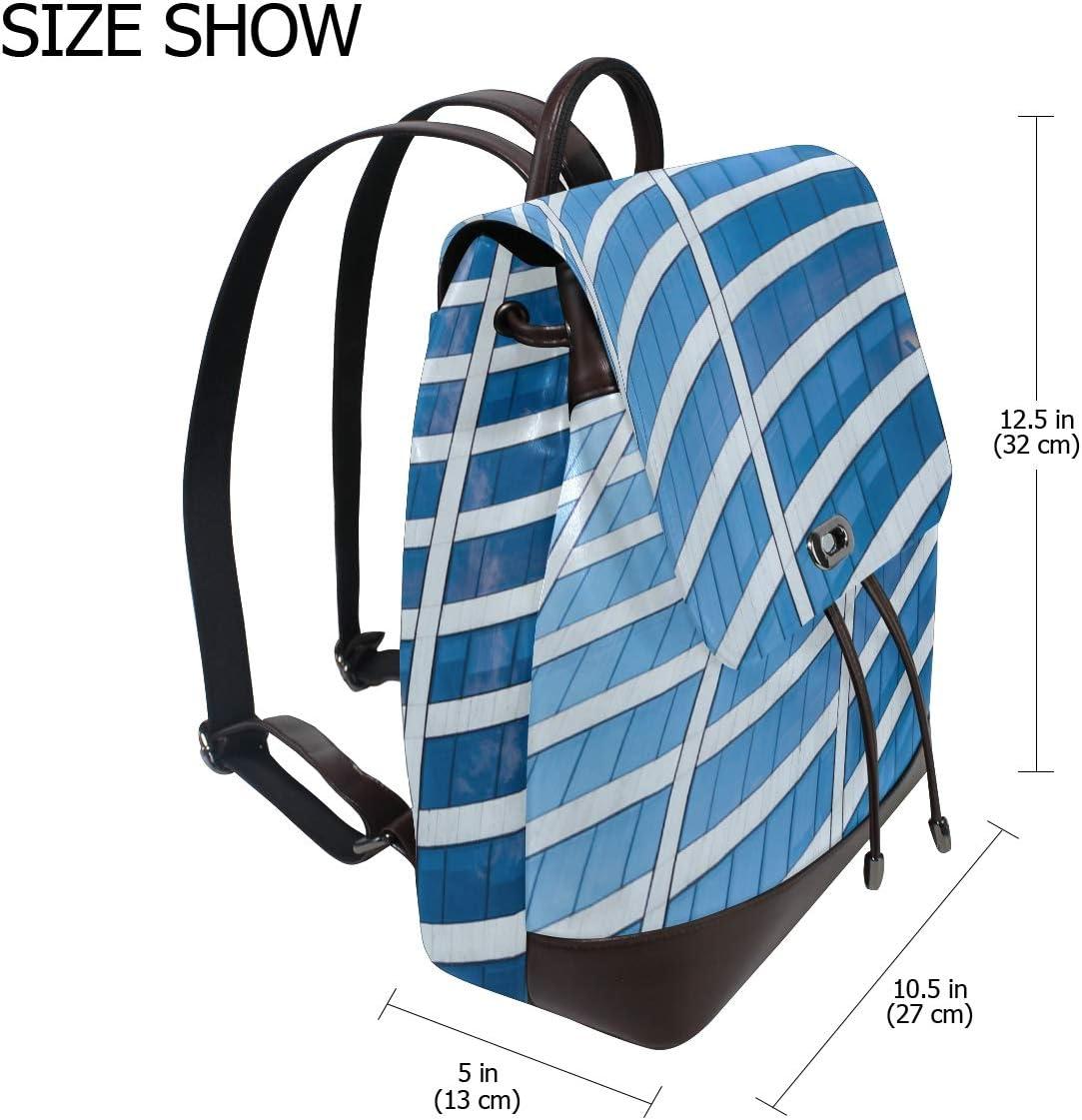 Carrottop Brown Leather Backpack for Women Travel Shoulder Bag for Elegant Ladies New York Blue