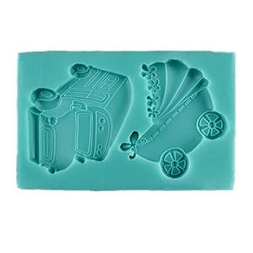 BESTONZON Molde de Pastel de Silicona Forma de Carro de Bebé para Pastel Chocolate Dulc (color al azar): Amazon.es: Hogar