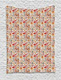 heat lamp for sugar art - asddcdfdd Tea Party Tapestry, Colorful Abstract Motifs Birds Bunnies Pretzel Sugar Cubes and Flowers Pattern, Wall Hanging for Bedroom Living Room Dorm, 60 W X 80 L Inches, Multicolor