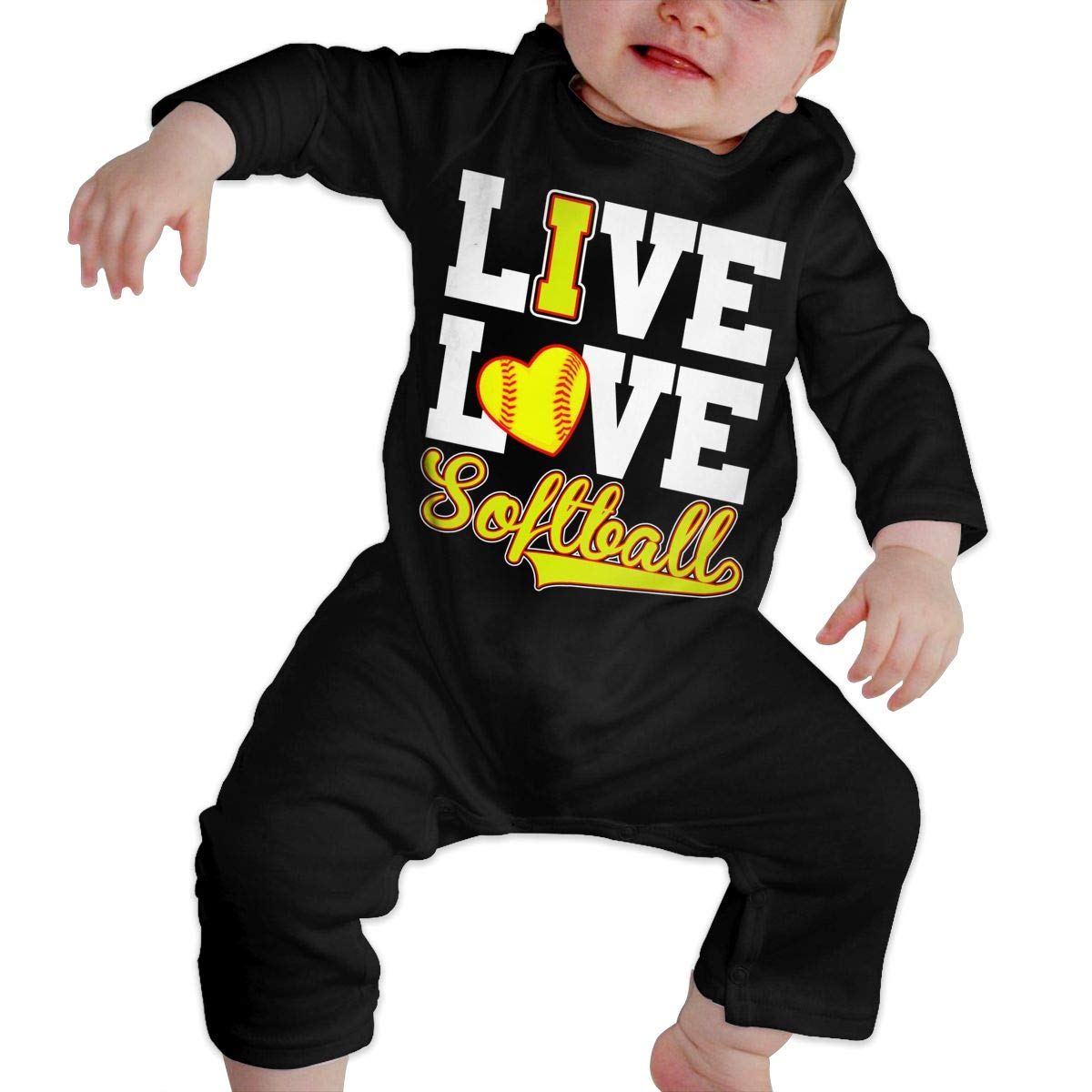 Live Love Softball Baseball Newborn Baby Bodysuit Long Sleeve Overalls Outfits Clothes Romper Jumpsuit for Baby Boy Girl