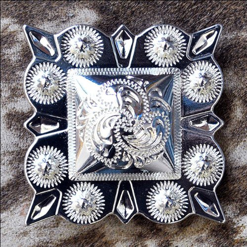 HILASON Set of 4 German Silver 1.5 INCH Berry Square Conchos Cowgirl Headstall