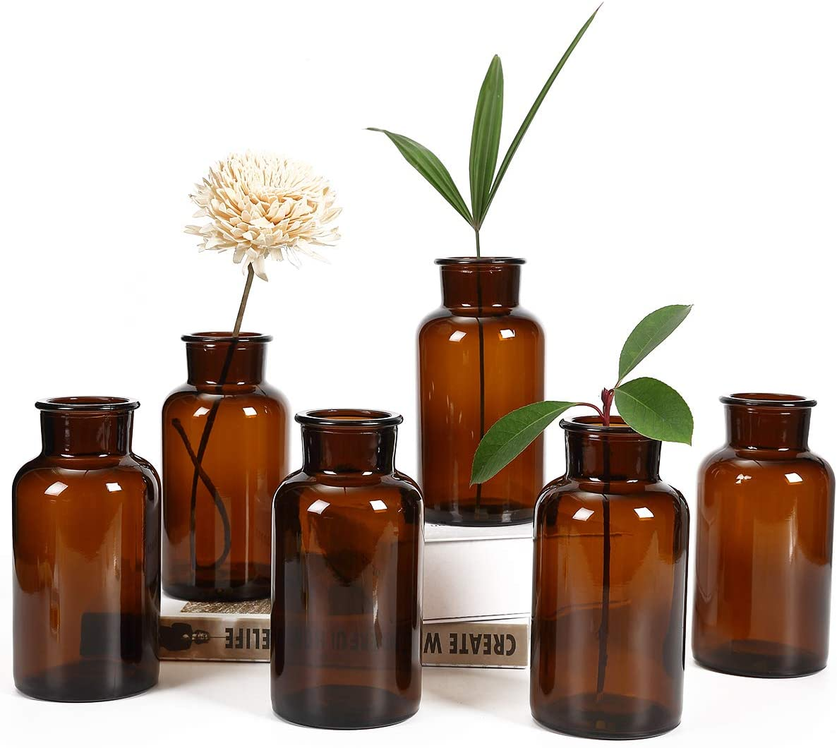 Amazon Com Amber Glass Vase Bud Vases Apothecary Jars Decorative Glass Bottles Small Glass Flower Vases Vintage Medicine Bottles For Home Decor Centerpiece Wedding Bridal Shower Events Set Of 6 Kitchen Dining