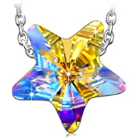 Kami Idea Lucky Star Princess Necklace Women 925 Sterling Silver Pendant Crystals from Swarovski, Come Elegant Jewellery Gift Box, Nickel Free Passed SGS Test