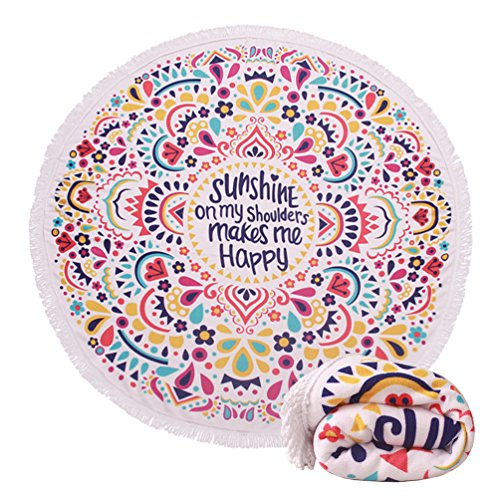 Personalized Beach Towels For Kids - Genovega (22 Options) Thick Round Beach Towel Blanket – Cute Funny Large Microfiber Terry Beach Roundie Circle Picnic Carpet Yoga Mat with Fringe for Women 2