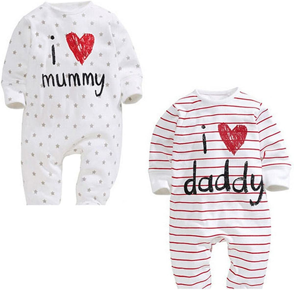 Jumpsuit . I Love Mummy Daddy 0-24month Lanmworn Unisex Baby Infant Cotton Romper Wrapped Triangle Bodysuit Newborn