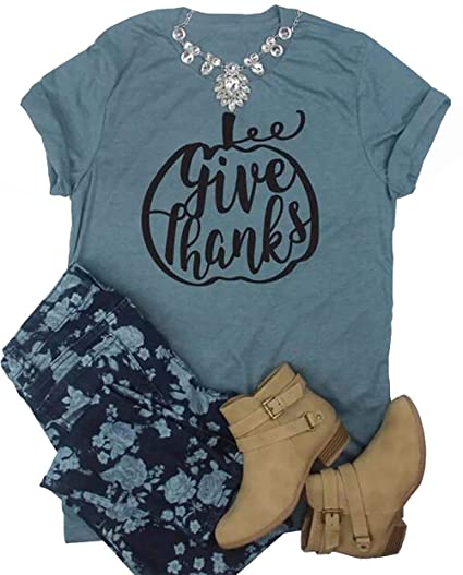 10b99bc8f Amazon.com: Give Thanks Thanksgiving Pumpkin T Shirt Womens Funny Cute  Letter Printed Fall Graphic Tee Shirt Tops: Clothing