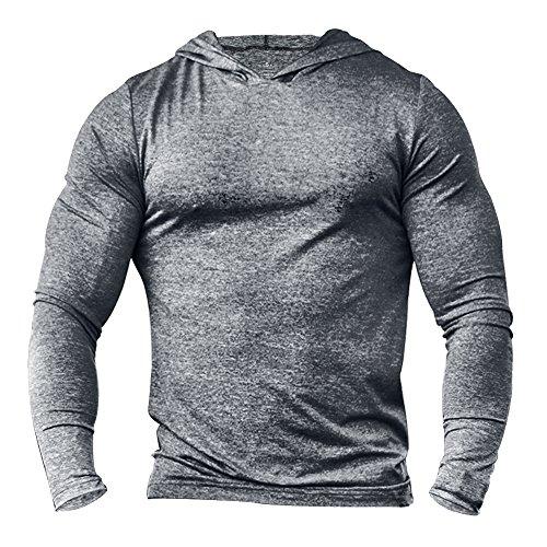 (Slimbt Men's Bodybuilding Tapered Long-Sleeve Slim Fit Sweatshirts Active Hoodies Heather Grey)