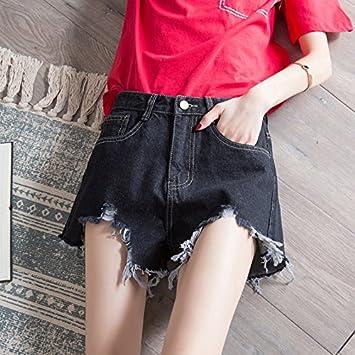 YYJZJW Ladies Shorts Women s Shorts Skirts Jeans Shorts Women s Super Waist  Loose Wild Bf Hole Irregular e7bb51d4d4