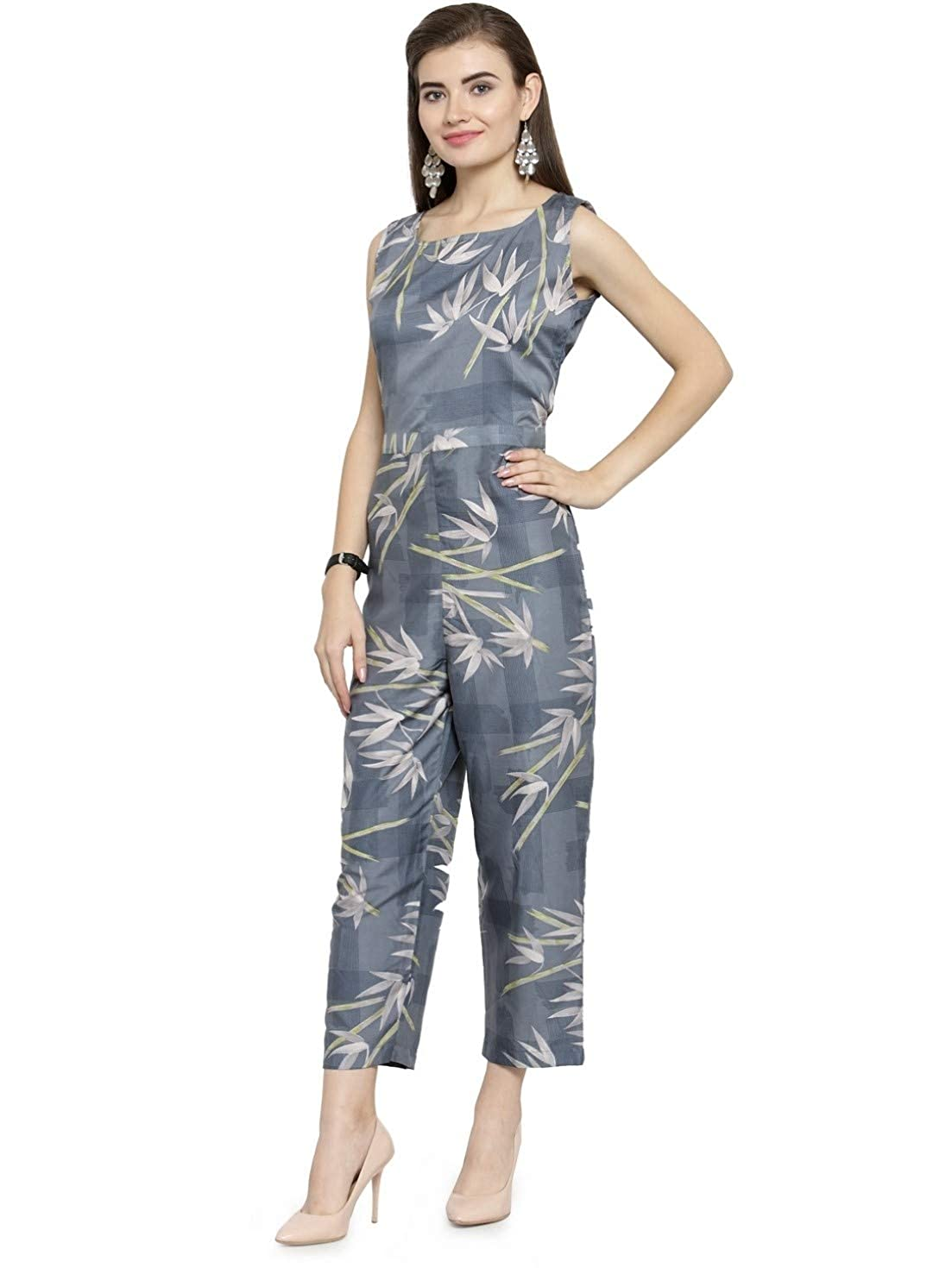 a16b7176ae2 Enchanted Drapes Women s Grey Blue Crepe Jumpsuit  Amazon.in  Clothing    Accessories