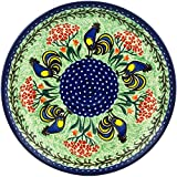 Polish Pottery 9¾-inch Lunch Plate made by Ceramika Artystyczna (Rooster Dance Theme) Signature UNIKAT + Certificate of Authenticity