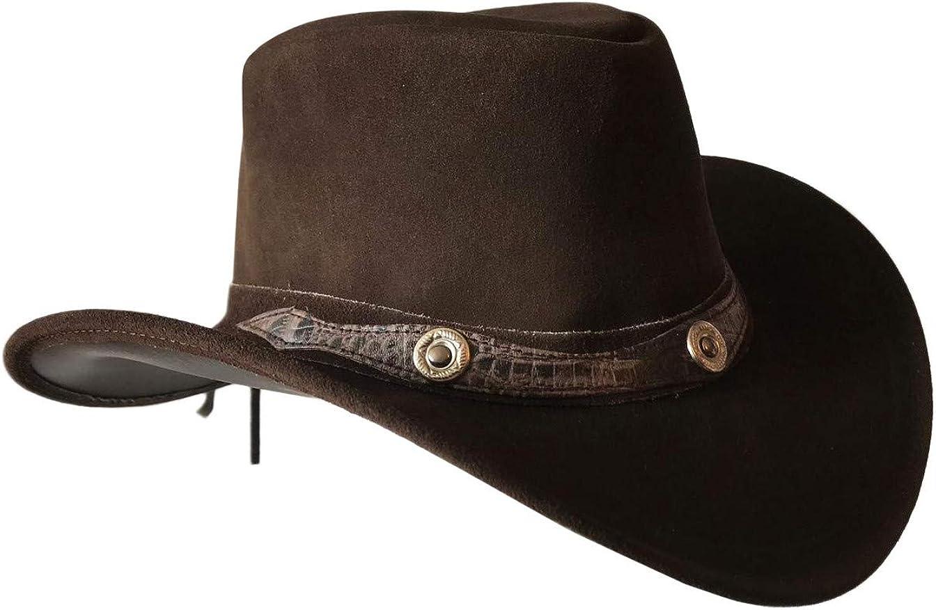 BRANDSLOCK Mens Vintage Grande Bordo del Cowboy Australiano di Stile Occidentale Bush Cappello