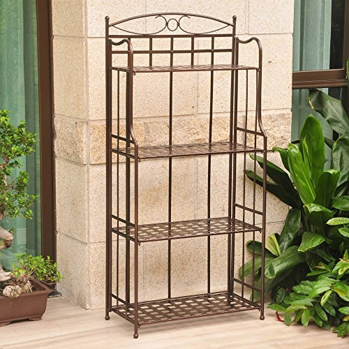 International Caravan Santa Fe 4 Tier Iron Bakers Rack in - Bronze Rack Bakers Kitchen