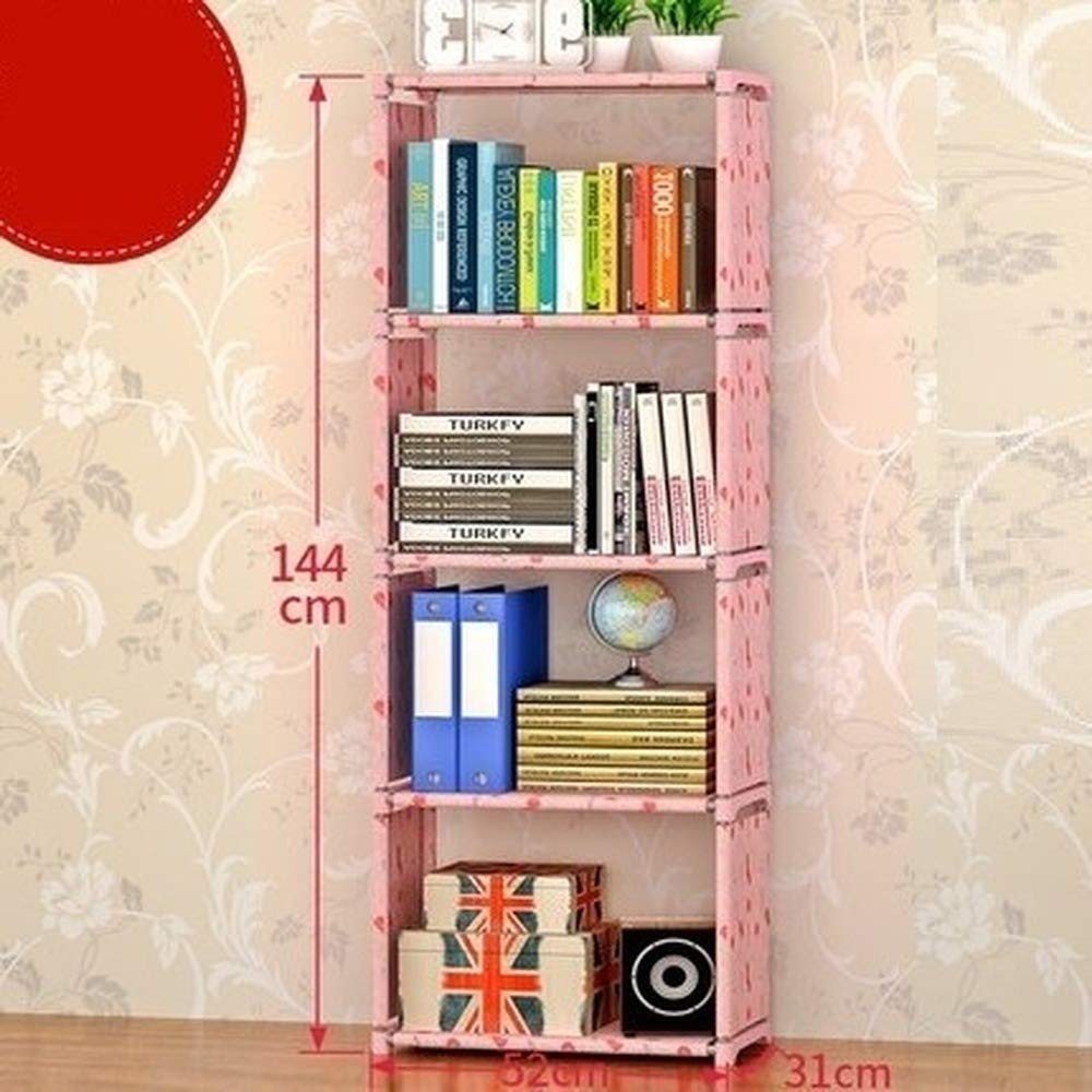 DIY 4 Grid Storage Cube Closet Bookcase Storage Bookshelf (Pink & Red,144 by 52 by 31cm) by Star Light Breaker