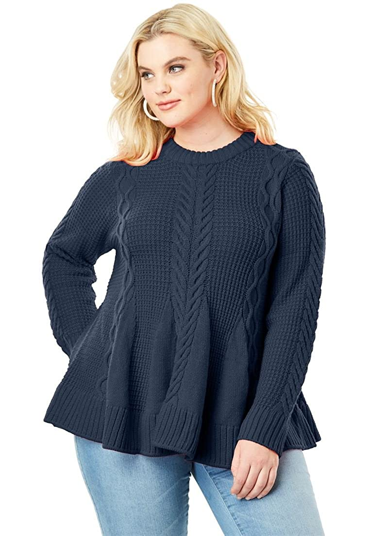 Women's Plus Size Cable Knit Fit & Flare Sweater Roaman's Denim 24/7