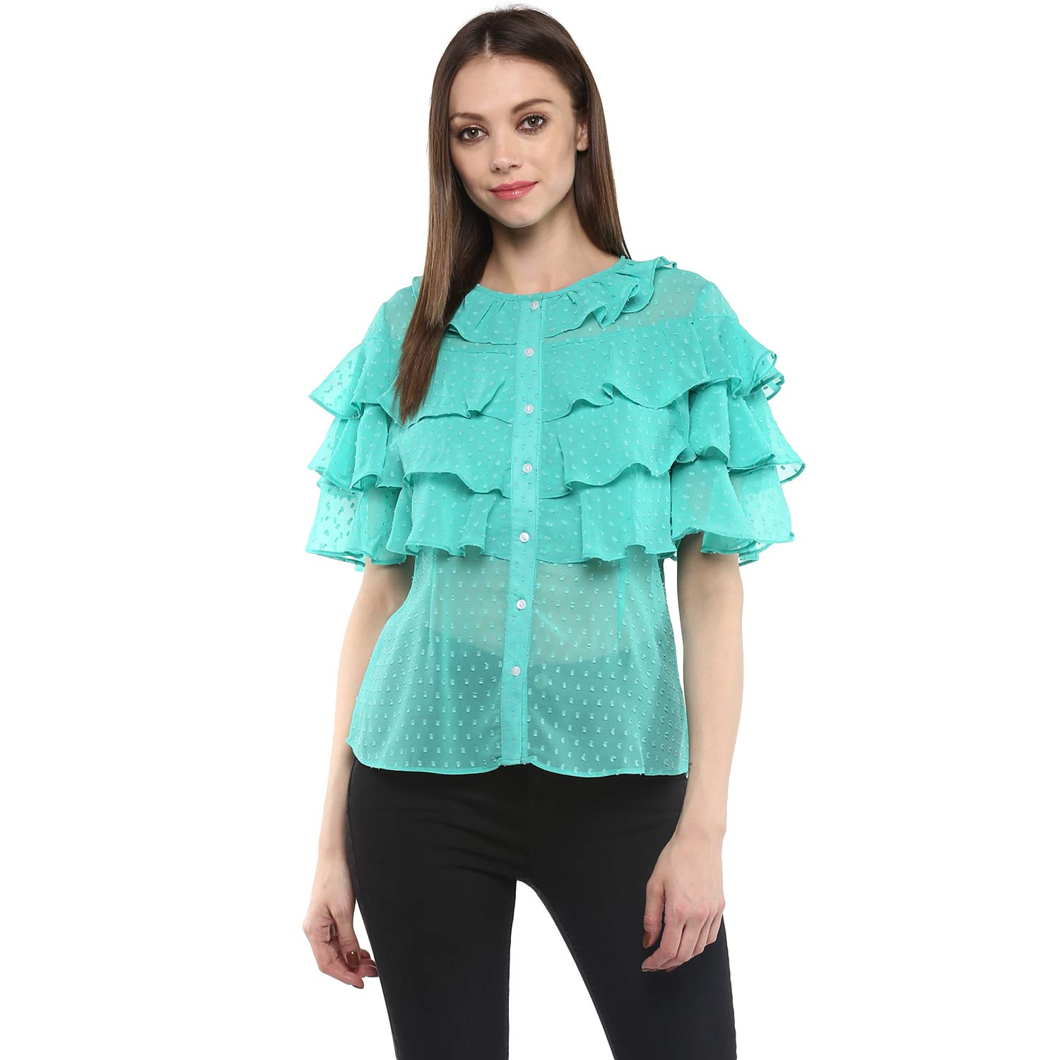 92d5ededb NUN Polyester Swiss Dot Printed Shirt Top with Layered Sleeves Design for  Women: Amazon.in: Clothing & Accessories