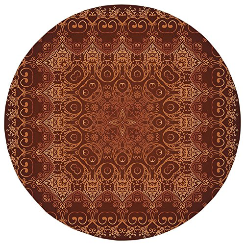 Antiques Persian Rug - Round Rug Mat Carpet,Antique Decor,Vintage Lacy Persian Arabic Pattern from Ottoman Empire Palace Carpet Style Artprint ,Orange Brown,Flannel Microfiber Non-slip Soft Absorbent,for Kitchen Floor Bathr