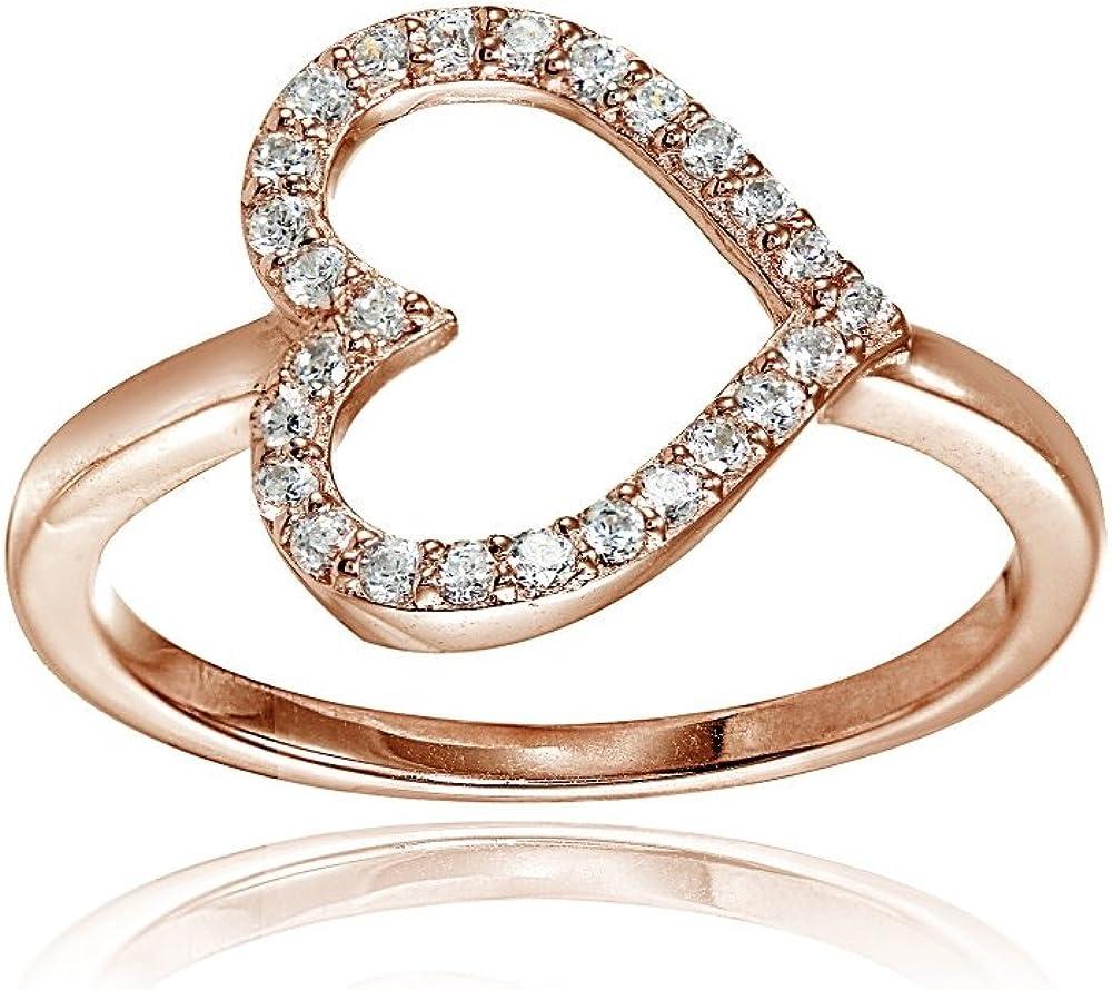 Hoops & Loops Sterling Silver Cubic Zirconia Sideway Heart Ring