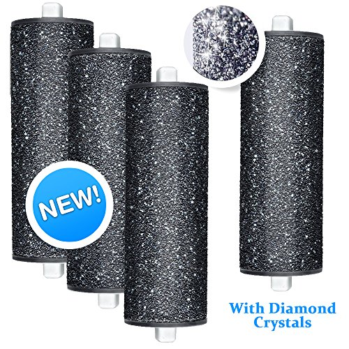 New! FLAT SURFACE DESIGN Replacement Rollers compatible with Amope Pedi Perfect foot file Diamond Crystals (Extra Coarse Refills)