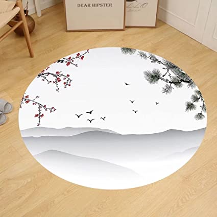 Gzhihine Custom Round Floor Mat House Decor Chinese Painting Style Artwork  With Tree Branches Birds Mountains