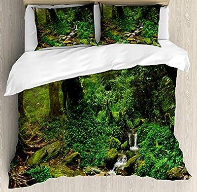 Hedda Clare Quilt setRainforest Trees Nepal Duvet Cover Set1 Duvet Cover + 2 Pillow Shams