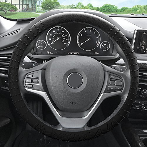 (FH Group FH3002BLACK Black Steering Wheel Cover (Silicone W. Nibs & Pattern Massaging grip Wheel Cover Color-Fit Most Car Truck Suv or Van))
