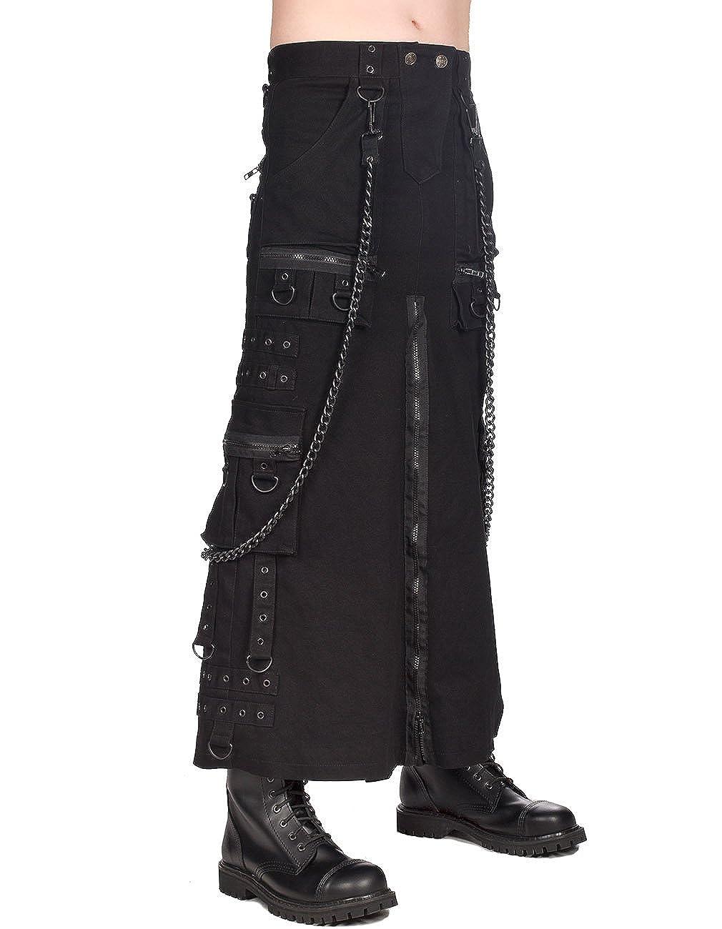 Black Pistol Herren Gothic Kilt / Rock mit Ketten - Chain Skirt Denim
