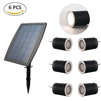 Start 6 pcs en acero inoxidable, IP67 LED proyector Solar Deck luz ...