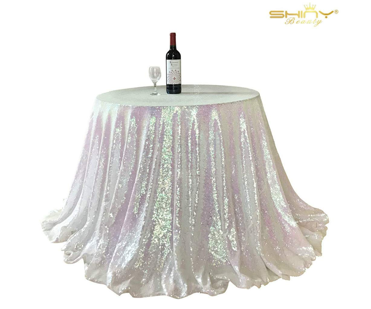 ShinyBeautyスパンコールテーブルクロス- 60inchラウンドSparkleテーブルクロスキラキラテーブルクロス、スパンコール、結婚テーブルクロス 60Inch round Sequin Tablecloth 60 Changed White 8-14 B06XSGBGXS  Changed White