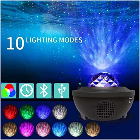 LED RGB Ocean Wave Night Lights Star Projector Lamps Bluetooth Rotating W// Music