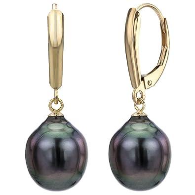 a0f9e8288 Amazon.com: Baroque Cultured Tahitian Black Pearl Earrings 14K ...