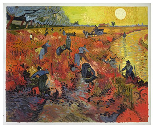 The Red Vineyards near Arles - Vincent van Gogh high quality hand-painted oil painting reproduction,a group of harvesters working in fields during sunset (Arles Canvas)