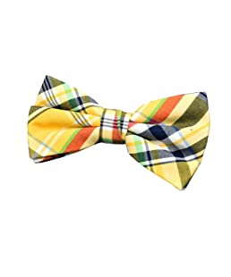 MENDENG Mens Cotton Mixed Color Plaid Adjustable Pre-Tied Bow Ties Formal Bowtie